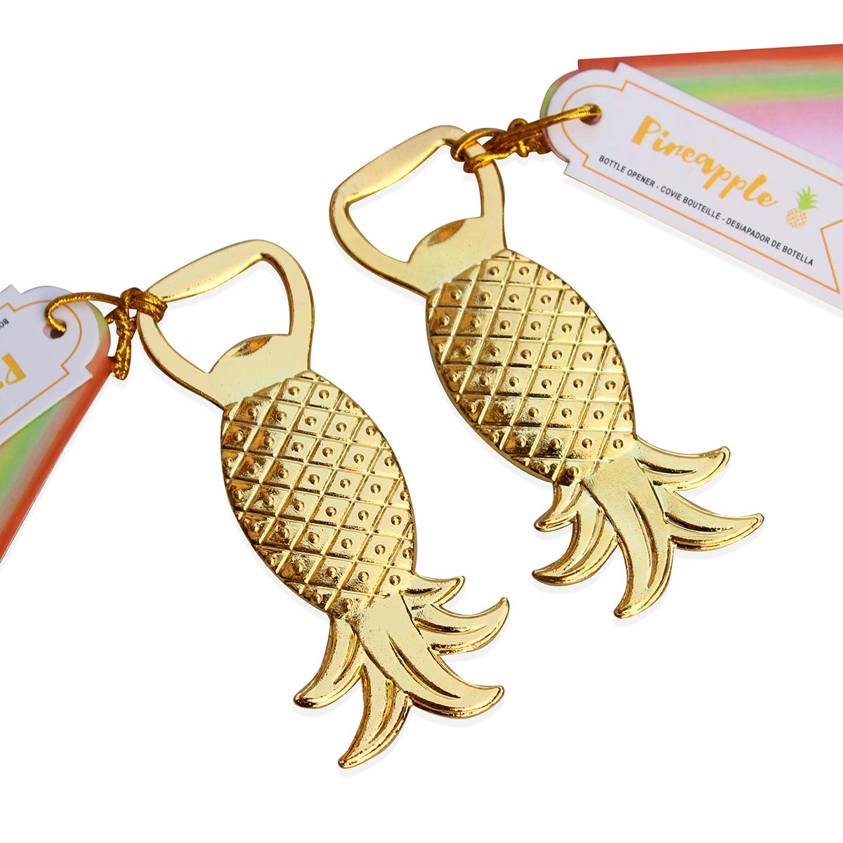 WeddParty 24 PCS Wedding Favor for Guest, Unique Golden Pineapple Shaped Beer Bottle Opener Party Favor with Escort Tag Card for Birthday Baby Shower Favors Gift & Decorations (Pineapple 24pcs)