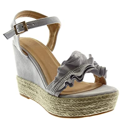 3348804ef7ef Angkorly - Damen Schuhe Sandalen Espadrilles - Plateauschuhe - mit Rüschen  - Strass - Seil Keilabsatz