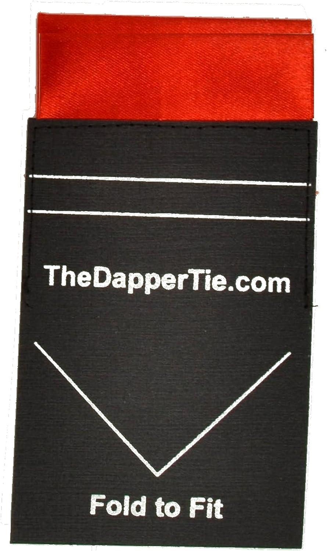 TheDapperTie Plaza bolsillo plano doble virada Pre doblado S/ólido los hombres de