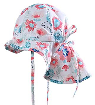 6e8cec546 Baby Girls Sun Hat UV Protection Outdoor Sun Cap with Neck for Kids ...