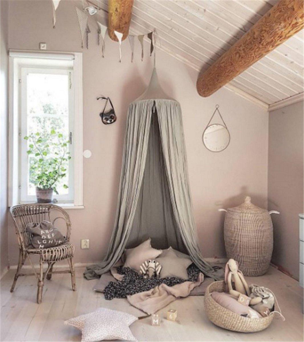 Tente de jeu, de lecture pour enfants, Dôme Princesse, pour lit, décoration baldaquin, pour intérieur ou extérieur, moustiquaire en coton, 240 cm Yosoo