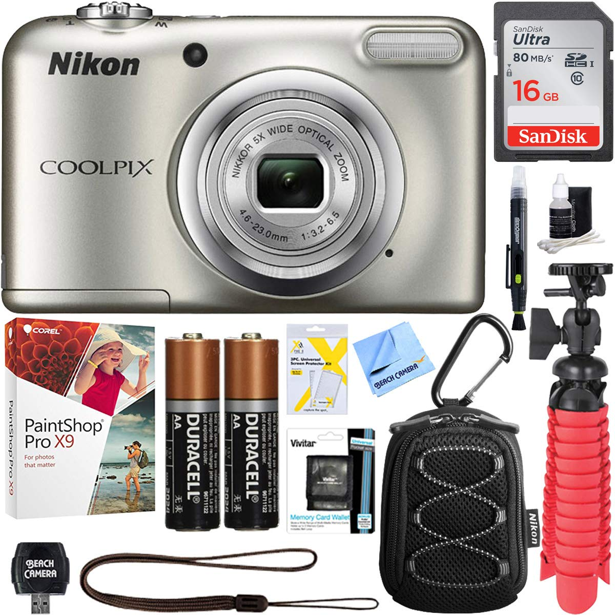 Nikon COOLPIX A10 16.1MP 5X Optical Zoom NIKKOR Glass Lens Digital Camera (Silver) + 16GB Class 10 High-Speed SDHC Memory Card + Accessory Bundle