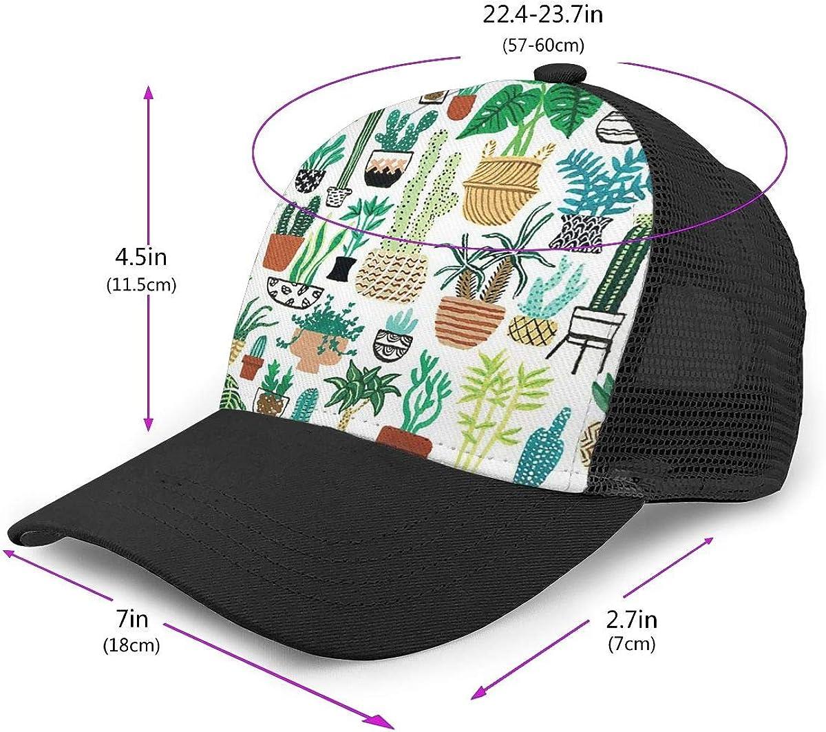 Vintage Hip Hop Cap for Unisex Mens Potted Plants Flat Baseball Hat