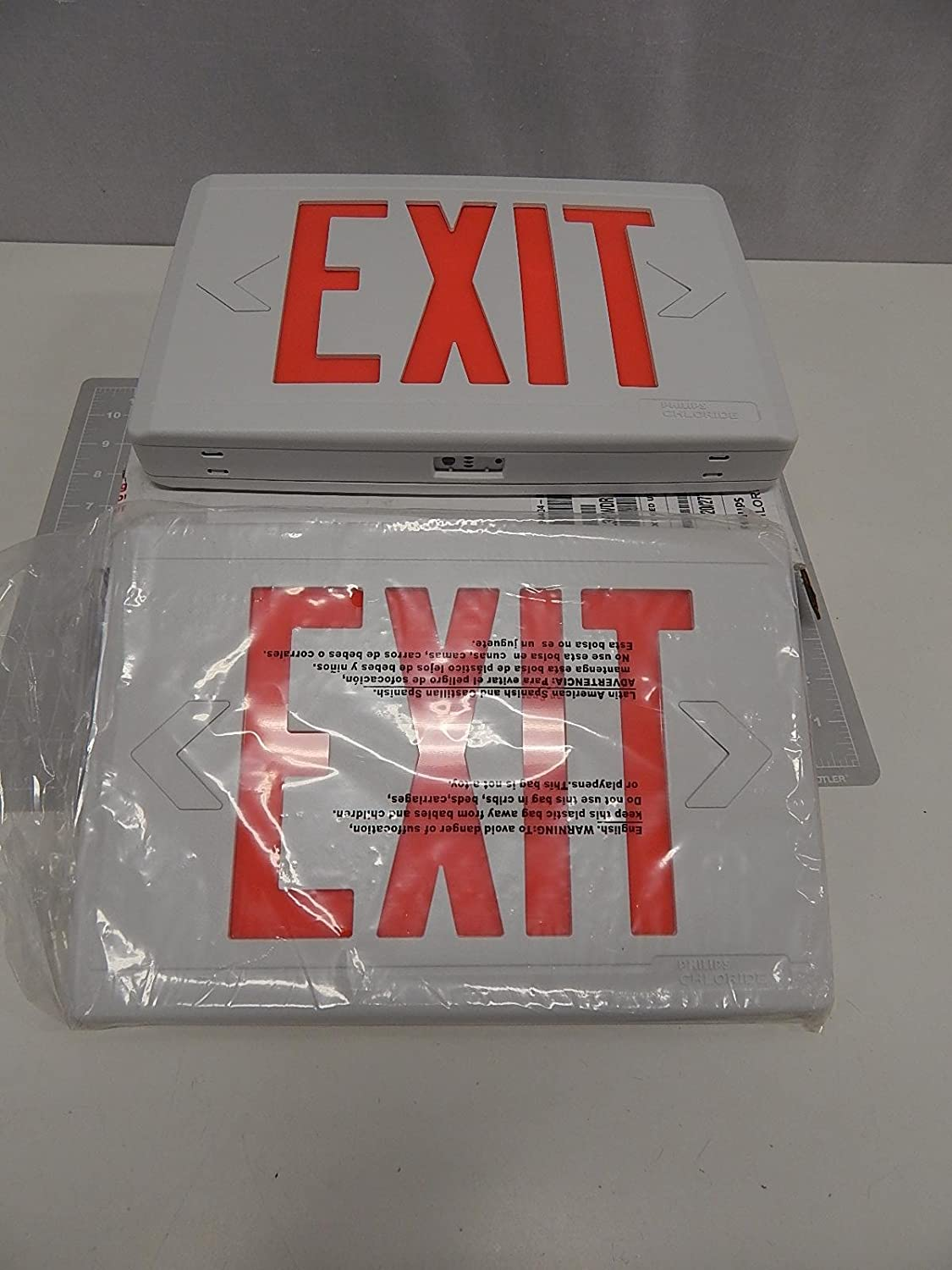 Philips Chloride CXXL3RWDR White Exit Sign w Red Letters ...