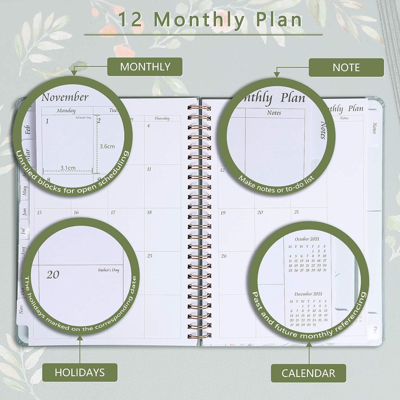 Agenda 2021, A5, vista semanal, 2021, con vista general anual, objetivos, plan mensual y notas, agenda 2021 con pestañas mensuales y pegatinas, tapa ...