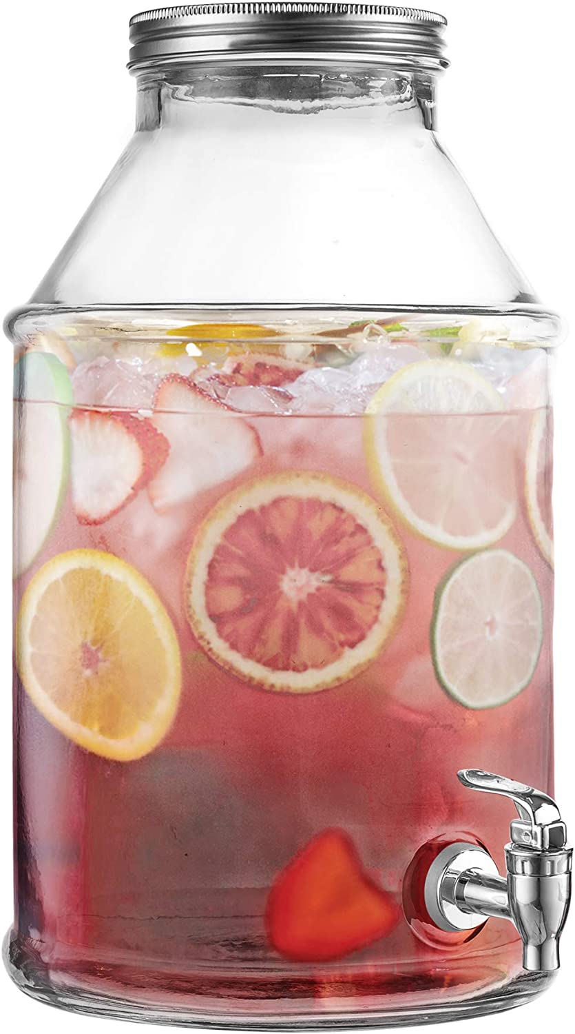 Style Setter 210455-GB Beverage Cold Drink Dispenser w 1.7-Gallon Capacity Glass Jug, Leak-Proof Acrylic Spigot in Gorgeous Gift Box for Parties, 1.7 Gallon, Maxwell