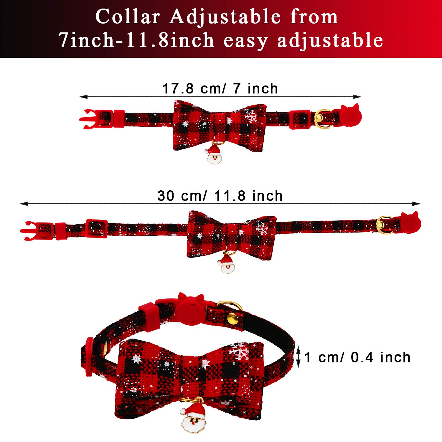 Frienda 4 Pieces Christmas Cat Collars Adjustable Breakaway Cat Collars with 4 Pieces Christmas Pendants and 2 Pieces Cat Toy Plush Balls for Christmas Party Cat Grooming Costume Accessories