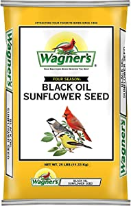 Wagner's 76026 Four Season Black Oil Sunflower Seed Wild Bird Food, 20-Pound Bag