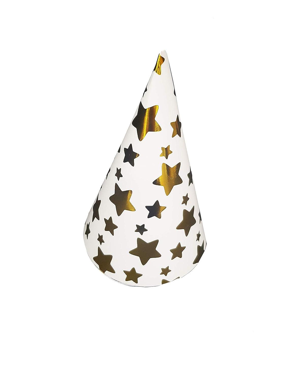 takestop SET 36 PEZZI CAPPELLO cono stelle oro CAPPELLINO IN CARTA MONOUSO FESTA COMPLEANNO PARTY NASCITA BATTESIMO MOON 10012197