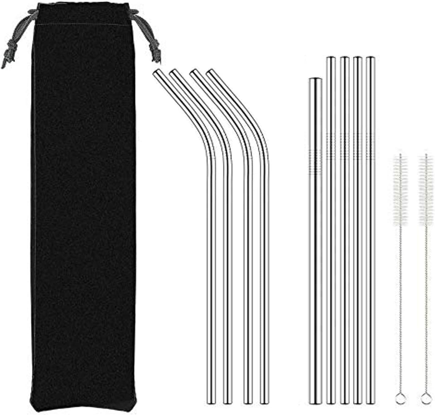 Ozark Tumbler NAHAO Set of 9 Reusable Replacement Metal Stainless Steel Straws With 2 Cleaning Bristle Brushes for 30oz Yeti RTIC