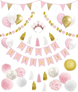 Decorlife Birthday Decorations for Women & Girls, Pink and Gold Party Decorations, Total 43PCS, Including Happy Birthday Banner, Pom Poms, Balloons, Glitter Circle Dots Garlands, Lanterns, Triangle Flags Bunting, Tassels, Crown Headband
