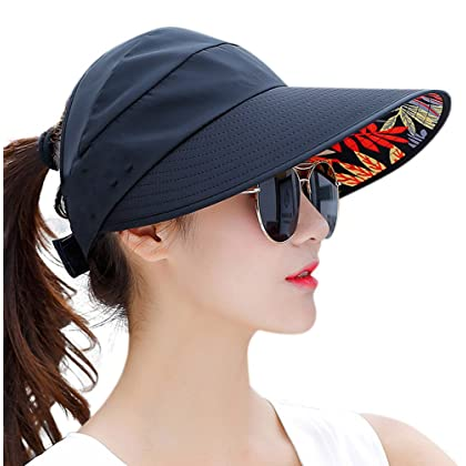 e1c82e65 HindaWi Sun Hats for Women Wide Brim UV Protection Visor Floppy Beach  Fishing Packable Hat Caps