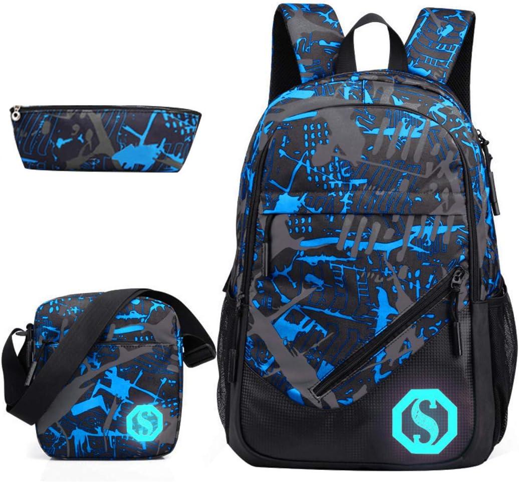 JiaYou Boy 20L Fashion School Bag Backpack with Florescent Mark 3 Sets//2 Sets...