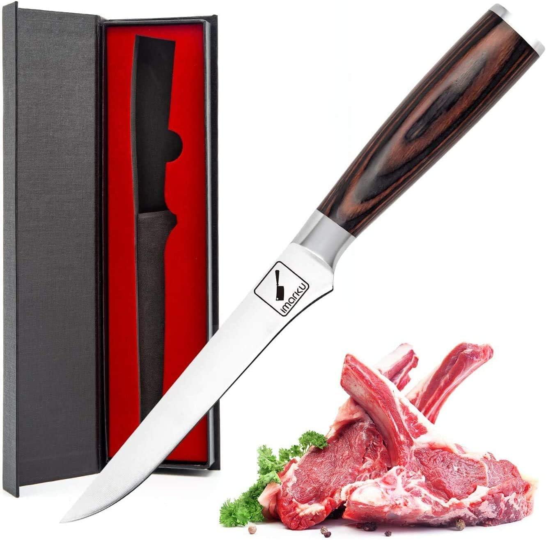 Imarku Cuchillo para Deshuesar. Cuchillo Cocinero Profesional de Acero al Carbono Inoxidable, 21cm para Cocina (6