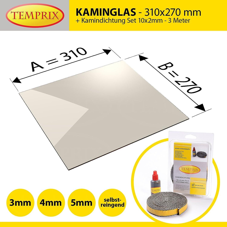 Kaminglas und Ofenglas 310 x 270 x 5 mm   Temperaturbeständig bis 800° C   » Wunschmaße auf Anfrage «   inkl. 10 x 2 mm Kamindichtung