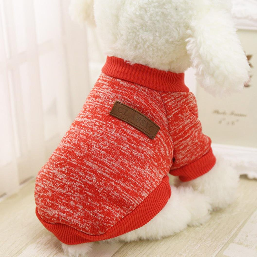 IEason Pet Clothes, 8 Color Pet Dog Puppy Classic Sweater Fleece Sweater Clothes Warm Sweater Winter (M, Red)