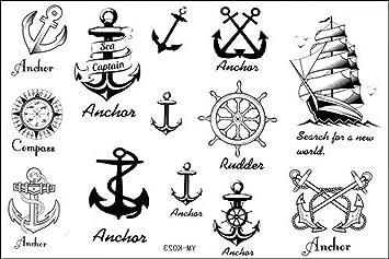 450d50ba5c526 Amazon.com : Fashion Temporary Tattoo Watertight anchor nautical fake  tattoos : Beauty