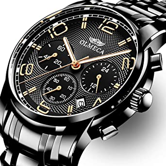 OLMECA Mens Watch Fashion Luxury Wrist Watches Analog Quartz Waterproof Chronograph Watch for Men Stainless Steel