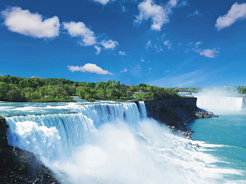 Artland Qualitätsbilder I Glasbilder Deko Glas Bilder 80 x 60 cm Landschaften Gewässer Wasserfall Foto Blau A6LF Niagara