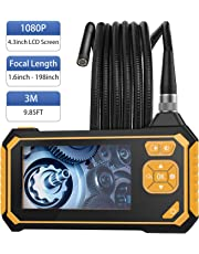 MoKo Industrial Endoscope - Borescope Inspection Camera, 3M 1080P HD Digital Semi-Rigid Snake Waterproof Video Recording Handhold Camera with 4.3inch LCD 2600mAh Battery 1.6-198inch Focus Distance