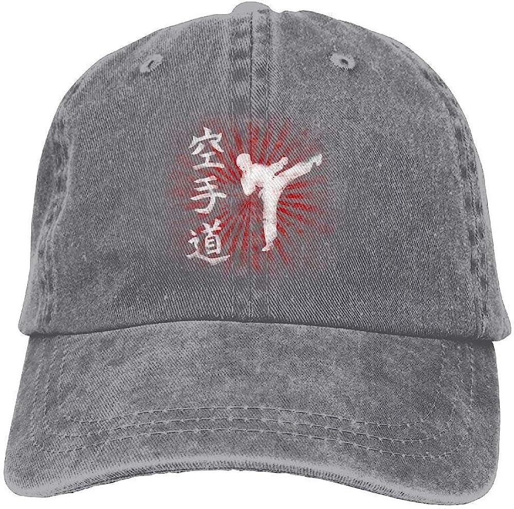 JTRVW Cowboy Hats Karate Letter Denim Hat Adjustable Female Plain Baseball Cap
