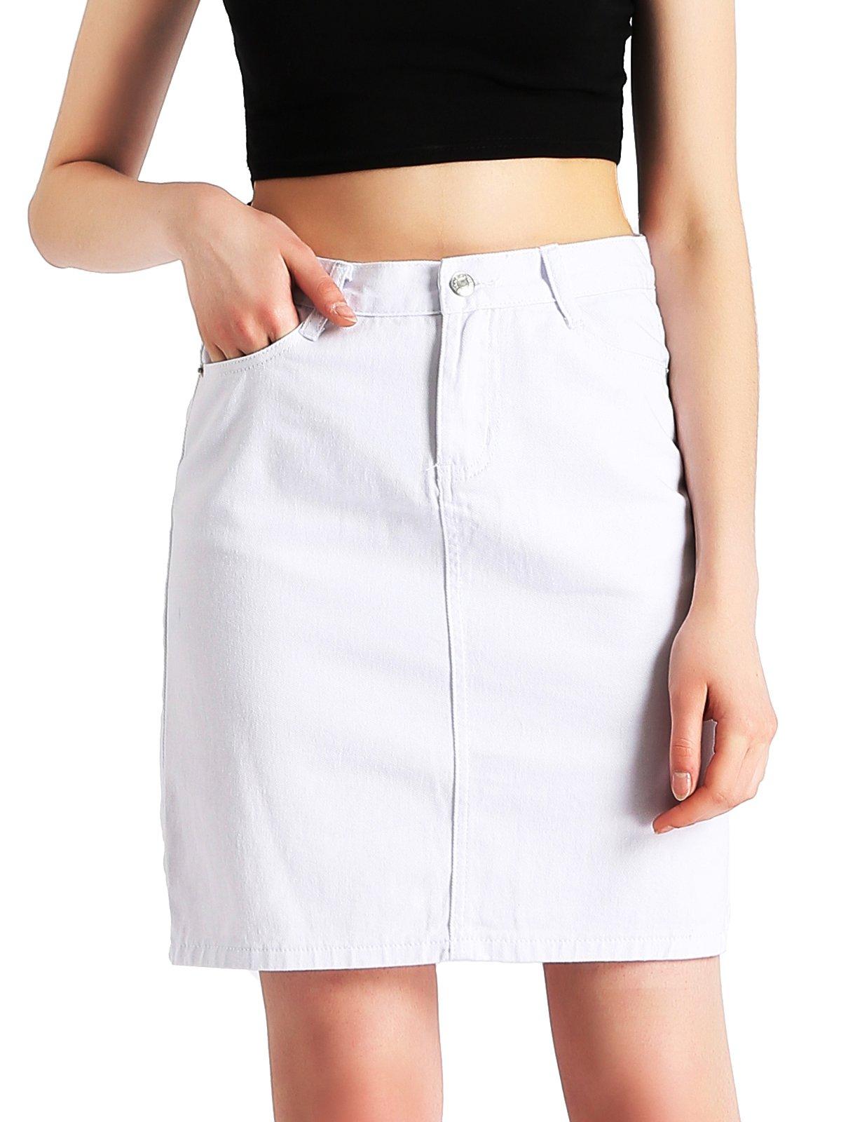 Beluring White Denim Skirt for Women Bodycon Skirt Fashion Classic Size 6