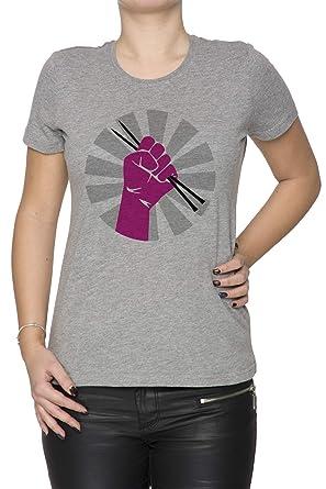 Resistir - Tejer - Tejido de Punto Mujer Camiseta Cuello Redondo Gris Manga Corta Todos Los Tamaños Womens Grey T-Shirt: Amazon.es: Ropa y accesorios