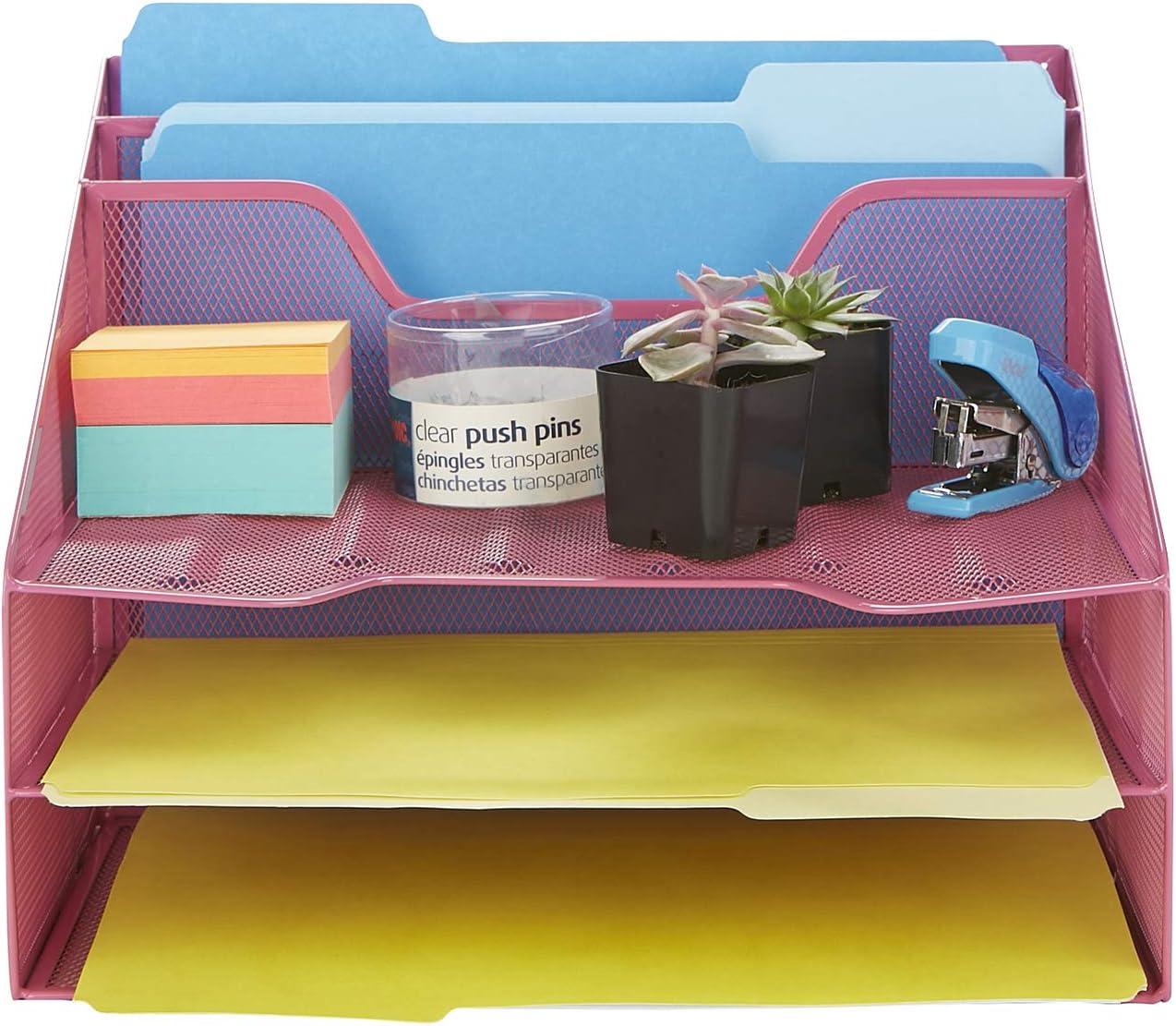 Mind Reader MESHBOX5-PNK Mesh Organizer 5 Desktop Document Letter Tray for Folders, Mail, Stationary, Desk Accessories, Pink