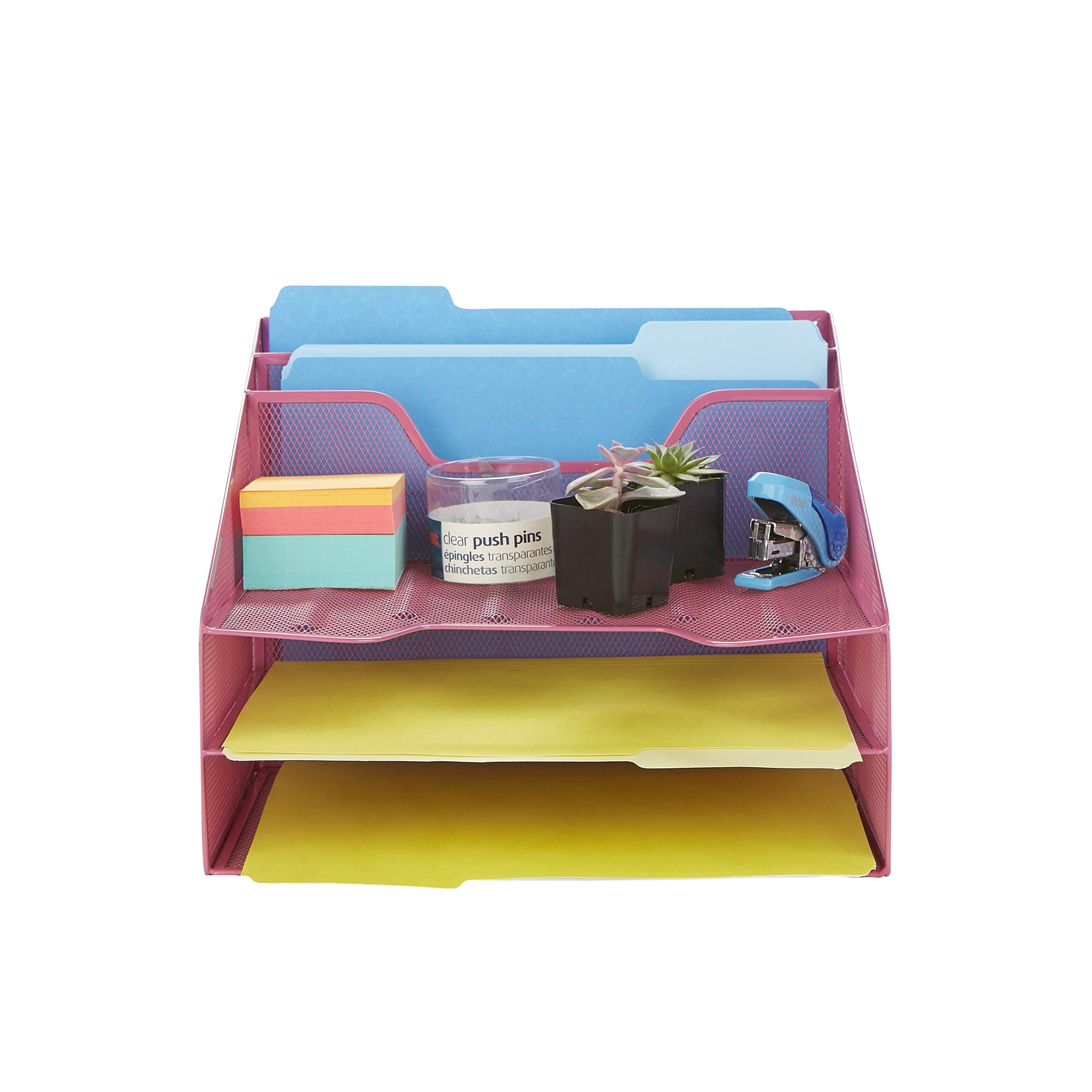 Mind Reader MESHBOX5-PNK Mesh Organizer 5 Desktop Document Letter Tray for Folders, Mail, Stationary, Desk Accessories, Pink by Mind Reader