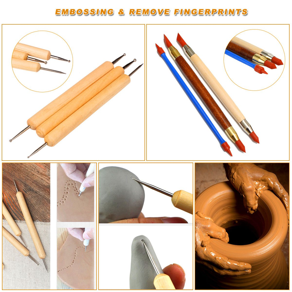 Hotab 45pcs Set Wooden Pottery & Clay Sculpting Tools with Plastic Case by Hotab (Image #2)