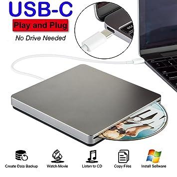 Unidad externa para CD USB C. Regrabadora de DVD/grabadora de CD y CD DVD +/-RW, grabadora, reproductora, con datos de alta velocidad para Mac/MacBook ...