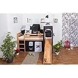 Lit pour enfants / lit mezzanine ANDI hêtre massif naturel avec toboggan et tour inclu sommier déroulable - 90 x 200 cm