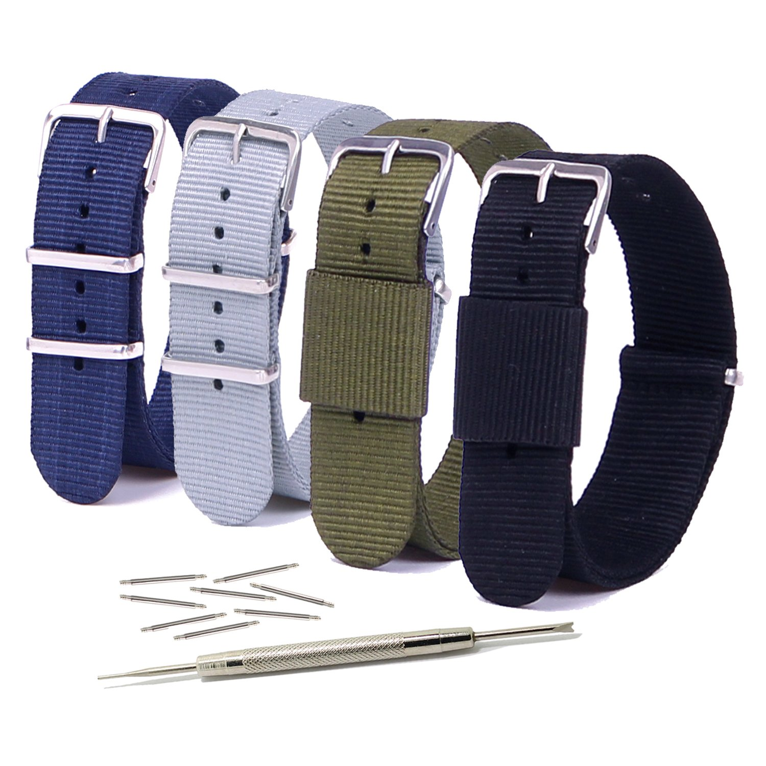 mens watch bands amazon com vetoo 20mm watch bands nato nylon replacement watch strap metal buckle for men or women pack of 4