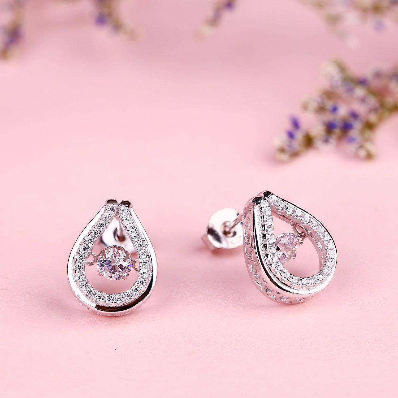 YL Sterling Silver Dancing Diamond Round Necklace 1.42ct Cubic Zirconia Teardrop Halo Pendant Jewelry Set YL Jewelry DE72520A