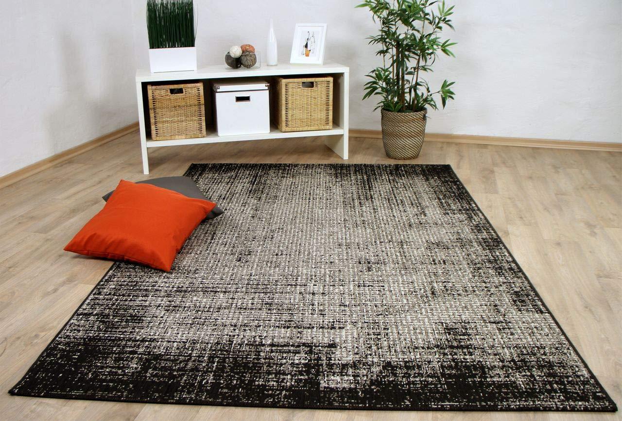 In & Outdoor Teppich Flachgewebe Carpetto Schwarz Verlauf in 4 Größen