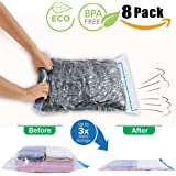 Travel Compression Bags for Travel,Camping and Home Storage,JHS-Tech Travel Space Saver Bags Roll-up Compression Bags,Pack of 8 Bags(2 x Small,Medium,Large,Jumbo),No Vacuum or Pump Needed