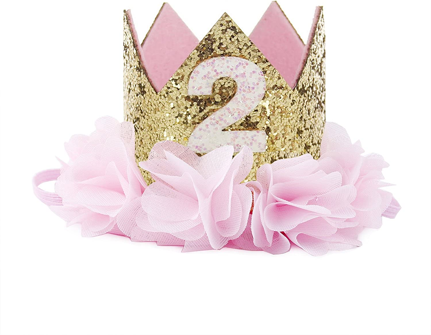 Baby Unisex 1st Birthday Sparkly Party Crown Rose Flower Princess Tiara Headband