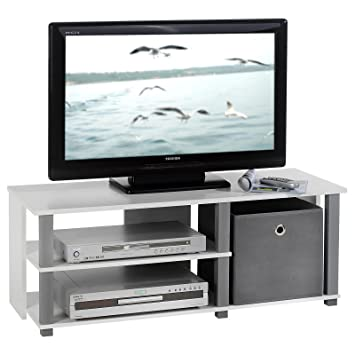 Idimex Meuble Tv Bas Banc Tv Design Denver Mdf Décor Blanc Et Gris