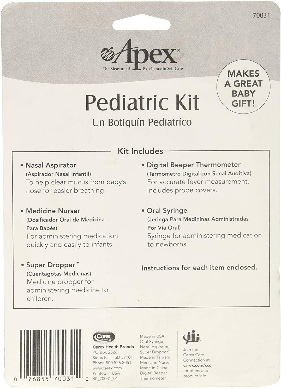 Apex Pediatric Health Kit - Infant Care Kit - Includes Digital Thermometer, Baby Nasal Aspirator, Medicine Dropper, Medicine Syringe, Pacifier Medicine Dispenser