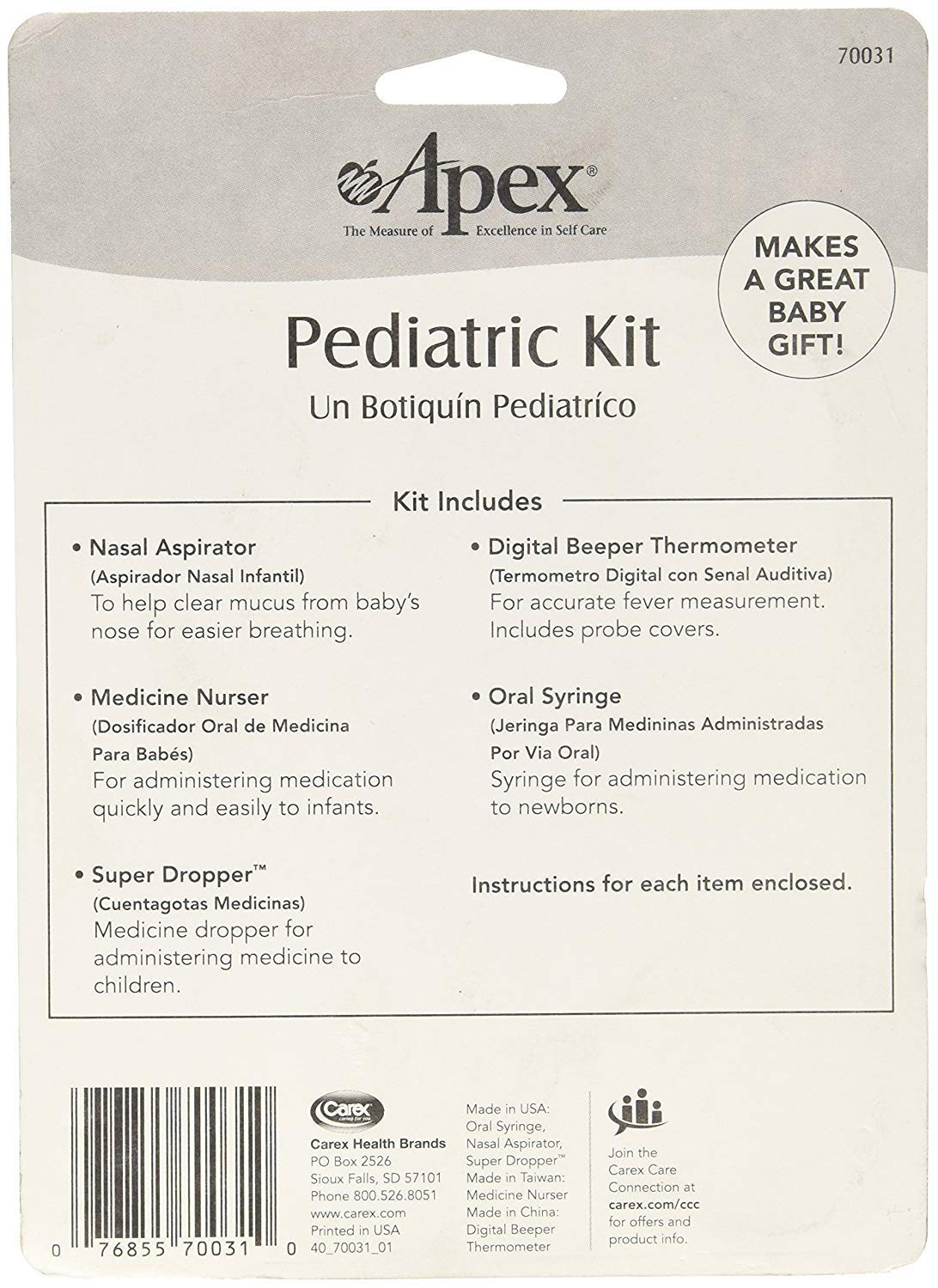 Amazon.com: Apex Pediatric Health Kit - Infant Care Kit - Includes Digital Thermometer, Baby Nasal Aspirator, Medicine Dropper, Medicine Syringe, ...