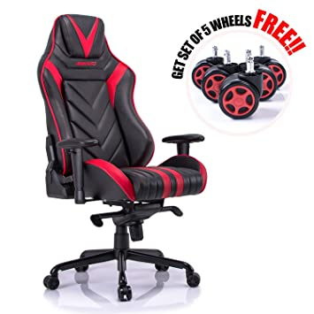 Aminiture Big and Tall Gaming Chair Red High Back Recliner ChairPU Leather Computer  sc 1 st  Amazon.com & Amazon.com: Aminiture Big and Tall Gaming Chair Red High Back ... islam-shia.org