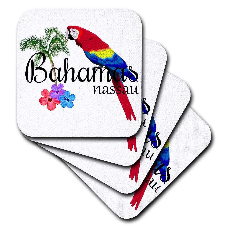 - set of 4 Ceramic Tile Coasters Islands cst/_299249/_3 3dRose MacDonald Creative Studios Bahamas Nassau Caribbean souvenir with tropical parrot and flowers