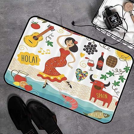Alfombras de Baño Espuma de Memoria,España, España Señales y símbolos Flamenco Barcelona Español Maris,Alfombrilla de Baño Antideslizante Alfombrilla bañera Absorbente Suave Alfombra de Baño,45 x 75cm: Amazon.es: Hogar