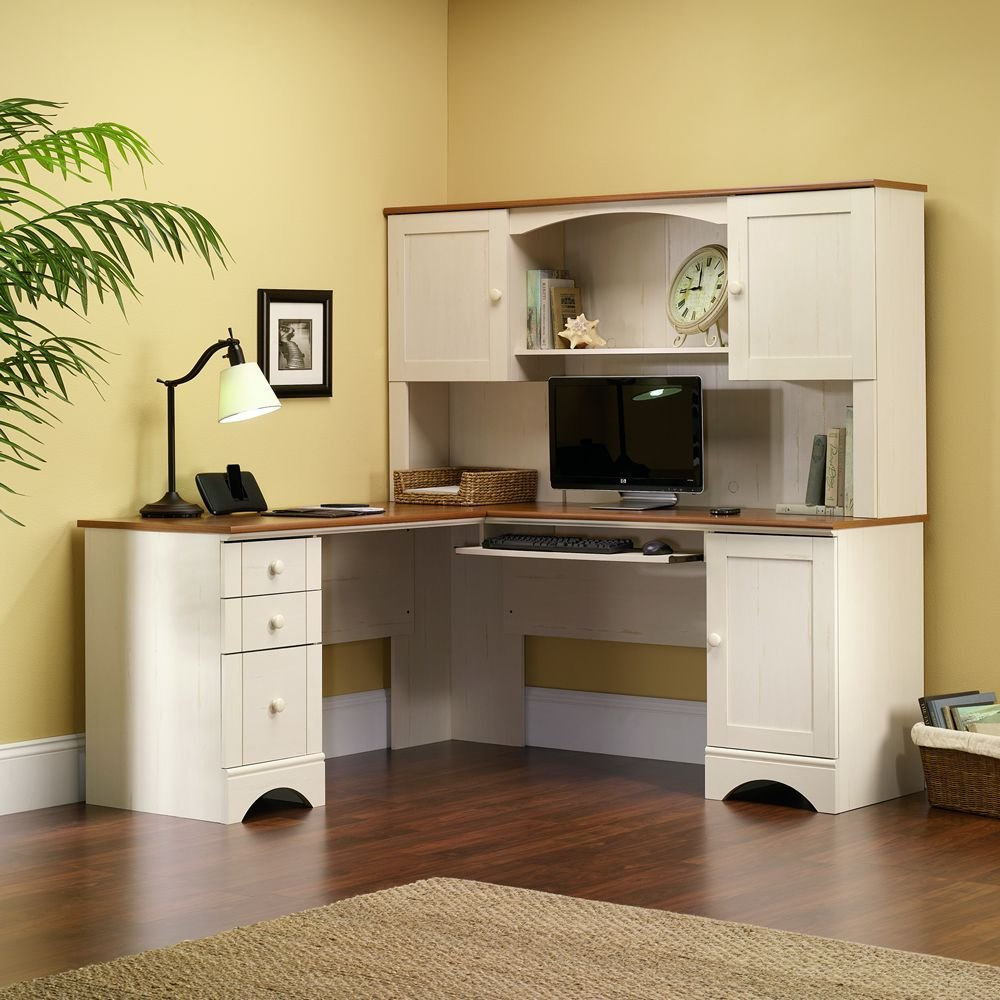 amazoncom sauder harbor view hutch does not include desk in antiqued paint kitchen u0026 dining