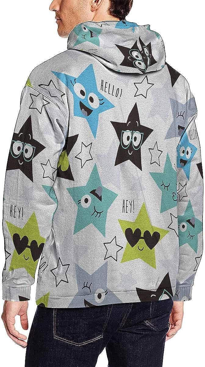 INTERESTPRINT Mens Night Sky and Colorful Hand Drawn Doodle Stars Sweatshirts Hoodie