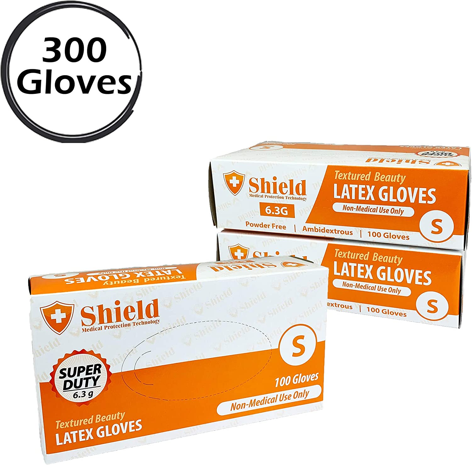 6.3g SHIELD Heavy Duty Latex Gloves 300, Medium Textured Disposable Ivory Color Non-Sterile Powder Free Ambidextrous