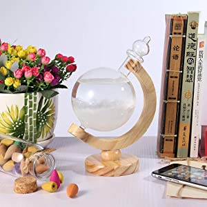 Weather Forecaster Bottle Glass Barometer Predictor Home, Office Decor, Glass with Pure Wooden Base, Weather Predictor, Creative Choice, Most Unique Decorations on Various Occasion.