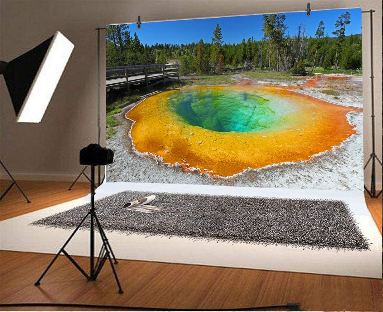 Laeacco 7x5ft Yellowstone National Park Scenic Background for Photography America Wyoming Geothermal Geyser Hot Spring Backdrop Indoor Decoration Landscape Wallpaper Holiday Vacation