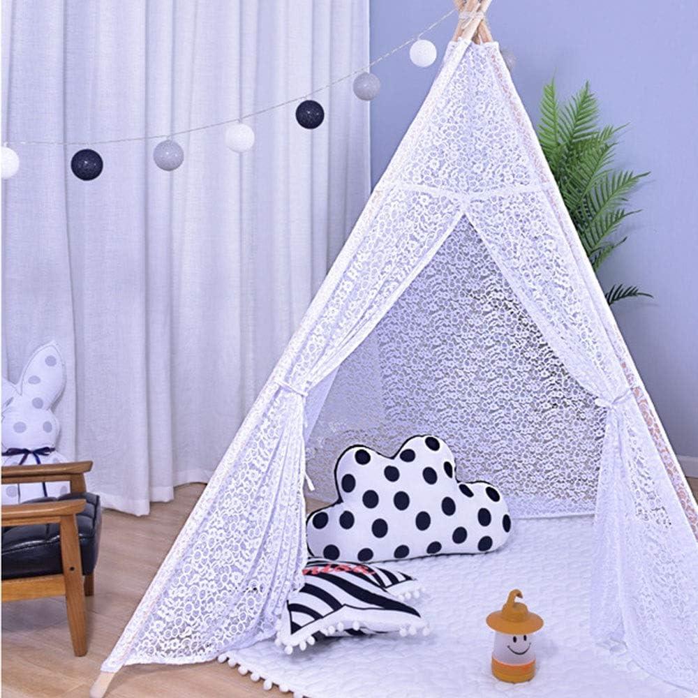 子供の屋内テント子供用テント 折りたたみ 子供のためのレースティーピーテント屋内と屋外の子供の理想的なサイズの子供の部屋のパーティーや休日の装飾 (Color : White, Size : 120x120x156cm)