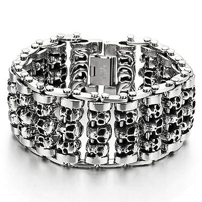 Men/'s Skull Biker Bicycle Chain Heavy Stainless Steel Bracelet Wristband Link